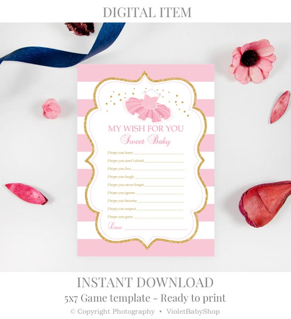 my wishes for you baby shower template printable baby wishes game