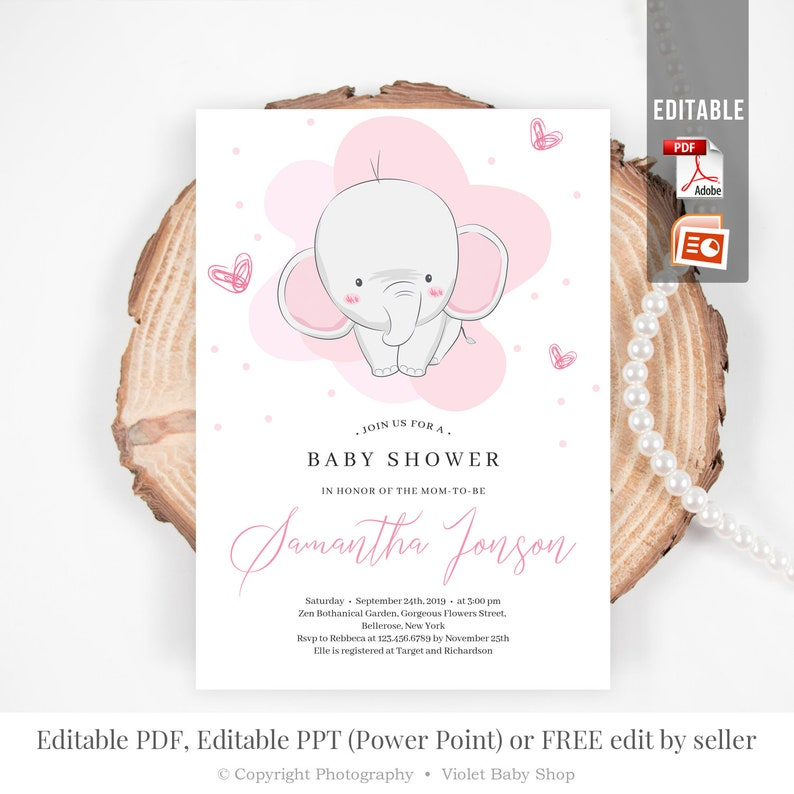 Self Editing Girl Baby Shower Invitation, Printable Pink Elephant Invite,  Power Point Template, DIY Modern Invitation, INSTANT DOWNLOAD ELE3