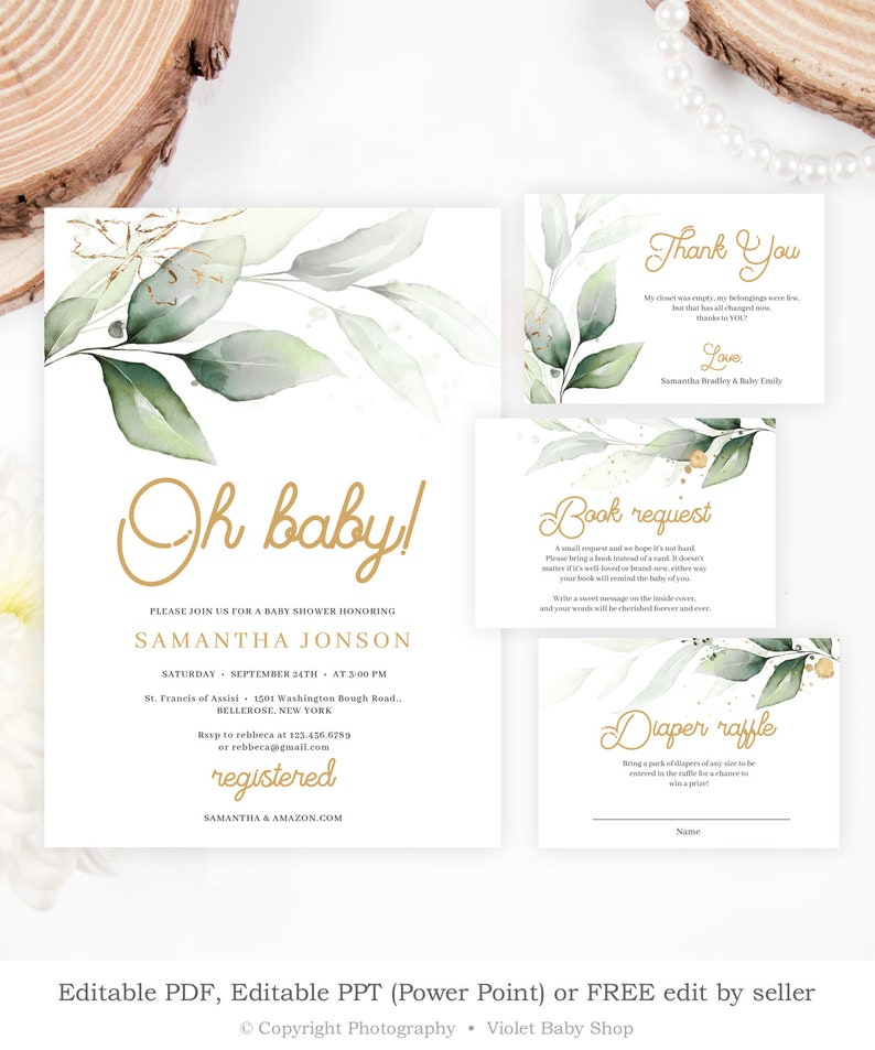 Greenery and Gold Baby Shower Invitation, Editable Modern Baby Shower  Invite, Printable Watercolor Leaves Template, INSTANT DOWNLOAD GRGS33
