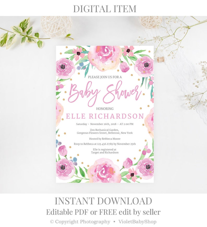 Blush Pink Baby Shower Invitation Template Printable Floral Etsy