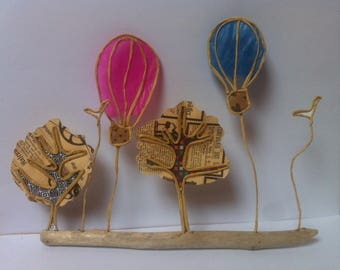 paper, wire reinforced kraft and Driftwood sculptures