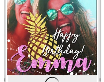 LIMITED TIME! Pineapple Birthday Snapchat Geofilter, Snapchat Birthday Geofilter, 21st Birthday filter, Gift for Her, Birthday Bash filter