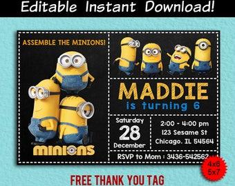 Minion Invitation Invitations Editable Birthday Invite Thank You Tag