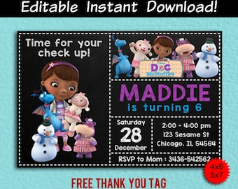 Doc mcstuffins invitations etsy doc mcstuffins invitation doc mcstuffins editable doc mcstuffins editable invitation doc mcstuffins birthday thank you tag editable pdf filmwisefo