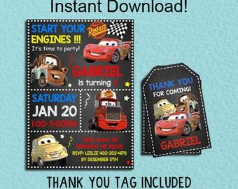Disney Cars Invitation, Disney Cars Instant Download, Disney Cars Birthday Invitation, Editable PDF Template, Cars Thank You Tags