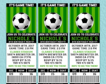 Soccer Ticket Invitation, Soccer Birthday Invitation, Soccer Printable Ticket Invitation, Ticket Invitation, Editable PDF, Soccer Birthday