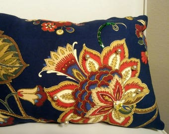 Navy Blue Pillow with Pearl Accents