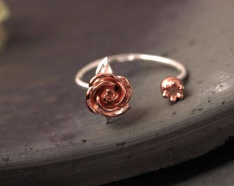 La Vie en rose-Rose Sterling 925 Silver Rings-Rose Floral Adjustable Rings-Beautiful Design-Gift for girls-FREE Gift Box