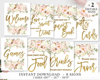 bridal shower signs set printable bridal signs bundle bridal signage gold blush white flower wedding party signs editable template bg02