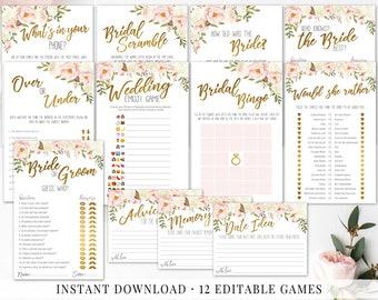 Bridal shower decor etsy bridal shower games bundle floral shower wedding shower games editable printable game bridal games blush gold ivory bridal shower decor junglespirit Choice Image