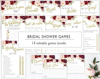 bridal shower games bundle bridal shower game floral blush marsala wedding shower games printable editable template bridal games boho
