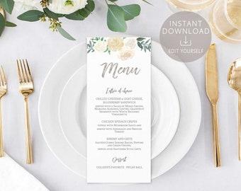 Bridal Shower Menu Printable Template Editable Baby Ivory White Silver Floral Wedding Card