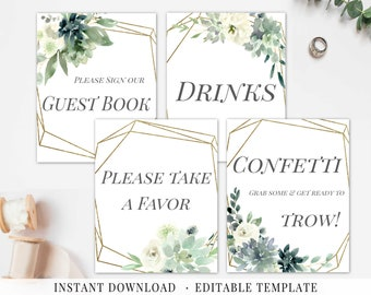wedding signs set printable editable wedding signage etsy