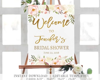Welcome Sign Bridal Shower Sign Floral Romantic Blush Sign | Etsy