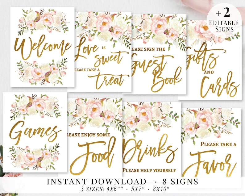 photo regarding Printable Bridal Shower Signs referred to as Bridal Shower Indications Preset, Printable Bridal Signs and symptoms Deal, Bridal Signage, Gold Blush White Flower, Wedding ceremony Social gathering Symptoms, Editable Template BG02