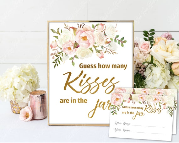 photo regarding Guess Who Cards Printable titled Bet How Innumerable Kisses Match, Kisses within the Jar, Signal + Playing cards Printable, Bridal Shower Recreation, Gold Blush Ivory Watercolor Floral, BG02