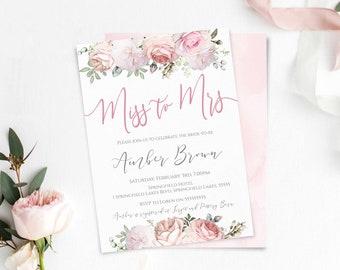 Bridal Shower Invitation Miss to Mrs Editable Bridal Shower Invite Printable Template Romantic Floral Blush Light Pink White Ivory
