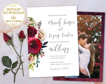 Wedding Invitation Printable Wedding Invitation Editable Template Invitation Wedding picture Red Flowers Watercolor Burgundy Perl Marsala