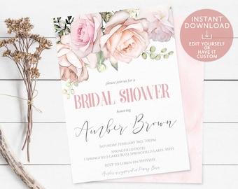 Bridal Shower Invitation Editable PDF Template Romantic Blush Light Pink White Ivory Watercolor Flowers Instant Download Printable invite