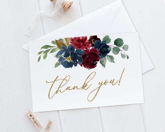 Dusty Blush Rustic Floral Thank You Card BG25 Thanks Card Tent Card Foldable Card Printable