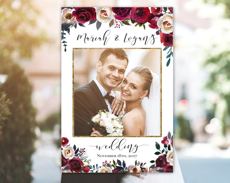 Wedding Photo Booth Frame, Editable Photo Frame Printable, Burgundy Pearl  Watercolor Floral, Photo Prop Frame Template