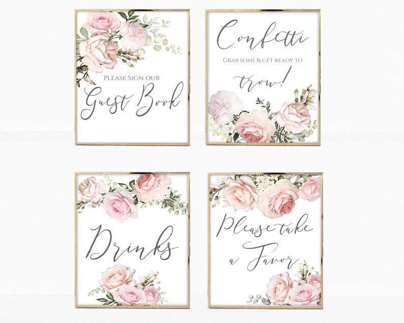 image about Printable Wedding Signage named Marriage ceremony Symptoms Established Printable, Editable Marriage Signage Template, Intimate Blush Watercolor Floral, Wedding day Indicators Package, Wedding day Reception Indicator