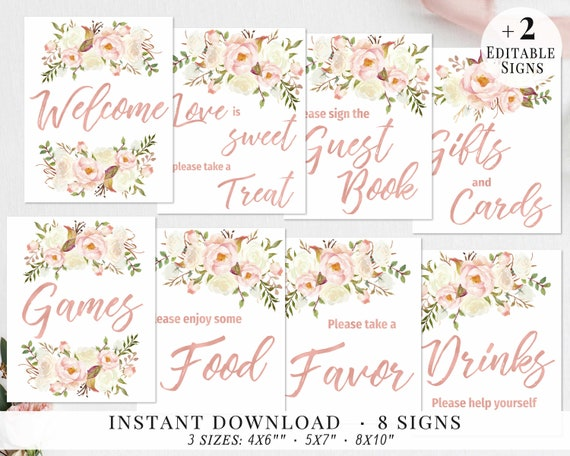 photograph regarding Printable Bridal Shower Signs named Bridal Shower Signs and symptoms Preset, Printable Bridal Indicators Package, Bridal Signage, Rose Gold, Blush Ivory Bouquets, Wedding ceremony Celebration Signs and symptoms, Editable, BBRG