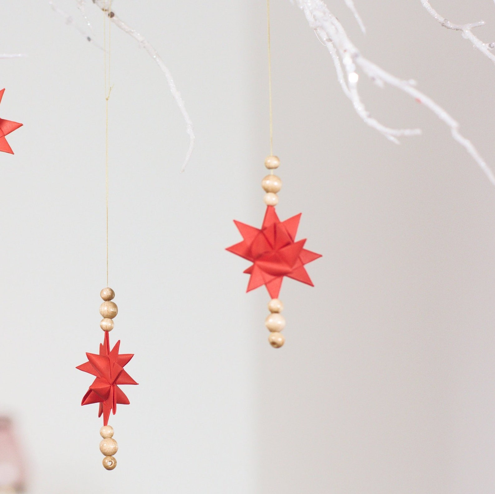 Christmas Decoration, Christmas Ornament, Pendant, Set of 3 Froebel Stars,