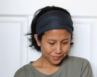 Wide Headbands For Women, Dark Grey Headband, Wide Yoga Headband, Grey Women's Headwrap, Tube Yoga Headband Grey, Stretchy Yoga Headband