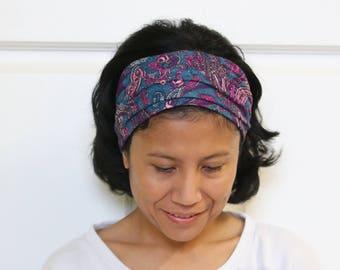 Wide Headbands For Women, Paisley Headband, Yoga Headband, Boho Headband, Hippie Headband, Bohemian Headband, Gypsy Headband
