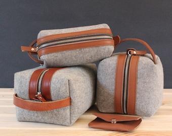 Wool felt dopp kit, felt toiletry bag, leather dopp kit, groomsman gift, personalized toiletry bag, gift for dad, monogrammed dopp kit