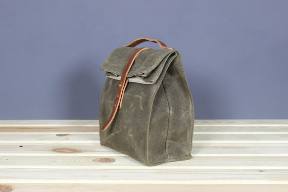 leather lunch box bag