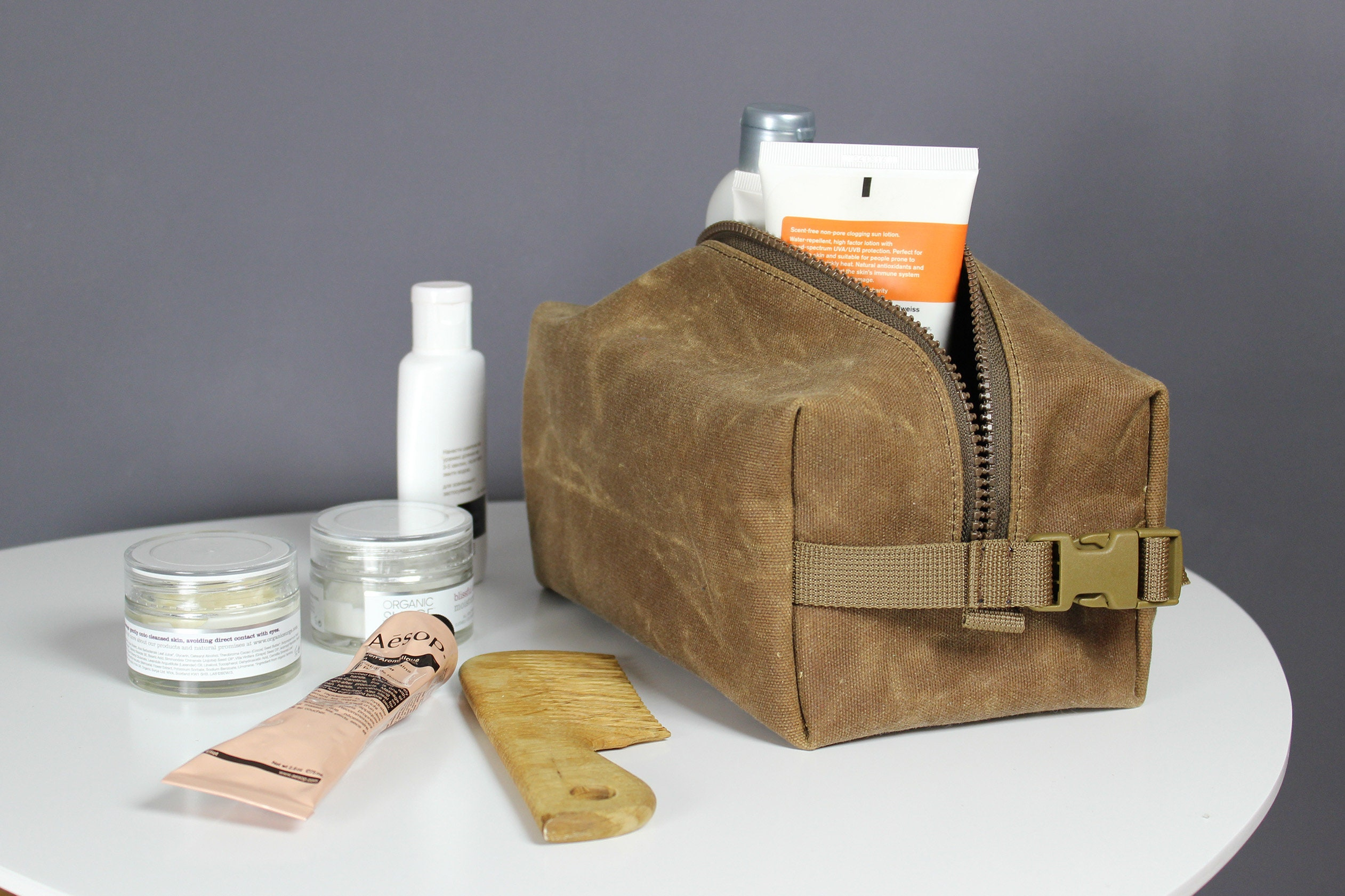 Waxed canvas dopp kit wax canvas toiletry bag canvas dopp  b463735d6a902