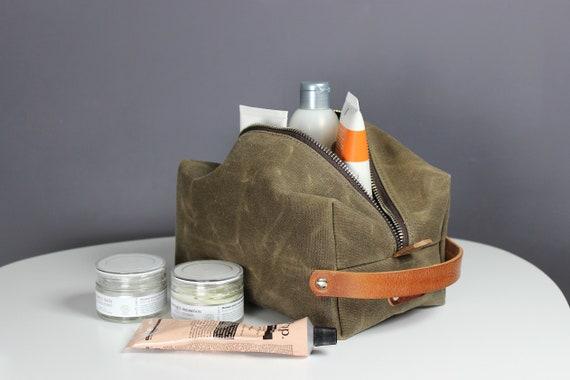 2775867c7e9 Personalized Waxed canvas dopp kit wax canvas toiletry bag   Etsy