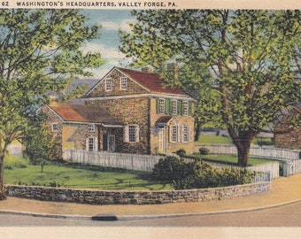 Valley Forge, Pennsylvania Vintage Postcard - George Washington's Headquarters, Revolutionary War, Continental Army