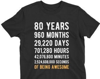 80th Birthday Shirt Countdown Of Being Awesome Eightieth 80 Years Old Girls And Boys T