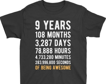 9th Birthday Shirt Countdown Of Being Awesome Ninth 9 Years Old Girls And Boys T
