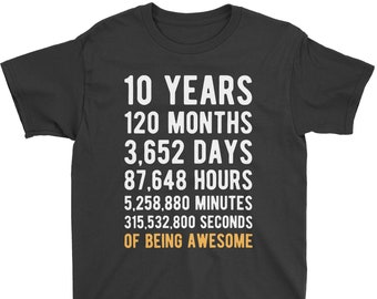 10th Birthday Shirt Countdown Of Being Awesome Tenth 10 Years Old Girls And Boys T