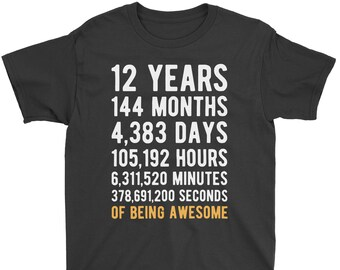12th Birthday Shirt Countdown Of Being Awesome Twelfth 12 Years Old Girls And Boys T