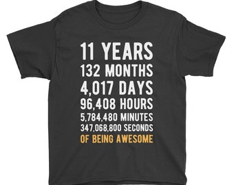 11th Birthday Shirt Countdown Of Being Awesome Seventh 11 Years Old Girls And Boys T