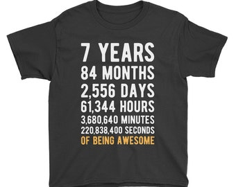 7th Birthday Shirt Countdown Of Being Awesome Seventh 7 Years Old Girls And Boys T