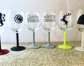 Game Of Thrones Glitter Wine Glasses