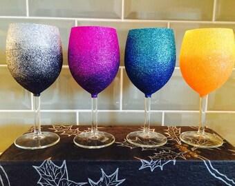 4 Ombre Glitter Wine Glasses
