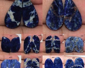 Beautiful Matching Sodalite Cabochon Pair Healing Crystal DIY Jewelry Making Stone Earrings Pair AAA Quality Blue Sodalite Gemstone Pair