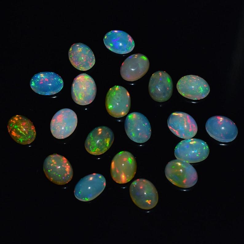 Opal Cabochon Opal Jewelry Ethiopian Opal Opal 8x6 MM AM 5751 2 Pcs Lot Top Quality Natural Ethiopian Opal Gemstone Cabochon