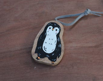 Penguin keyring,Wooden Painted penguin keychain,Animal Wooden Keyring,Keyring,Keychain,Gift for her,gift for him,accessories