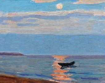 VINTAGE IMPRESSIONIST SEASCAPE Original Oil Painting by V.Kolesnik 1976 Sunset, Marine, Seaside art, Boat in the sea, Skyscape, Landscape