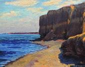VINTAGE SEASCAPE Oil original painting by M.Chaliy, Coastline view, Cliffs by the sea, Sea painting, Seashore art work, Antique oil painting