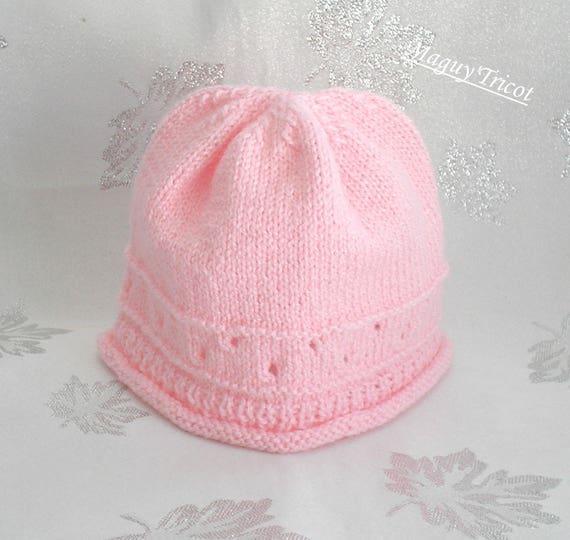 Bonnet bébé laine layette rose Naissance à 3 mois   Etsy 365457b3a06