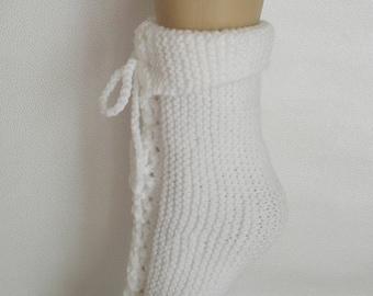 Night slippers white wool